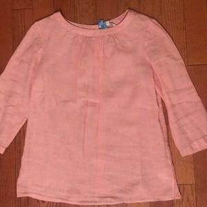 Boden pink linen button back blouse size 8